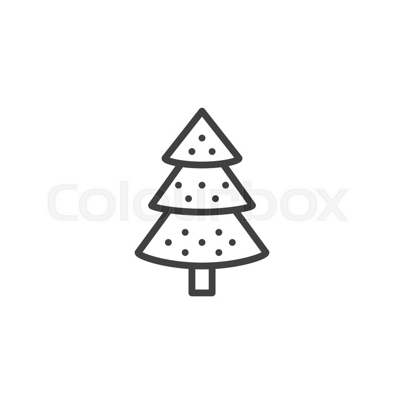 Decorated Christmas Tree Outline Icon Stock Vector Colourbox