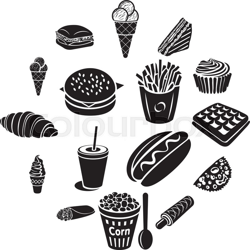 Fast Food Icons Set In Black Simple Stock Vector