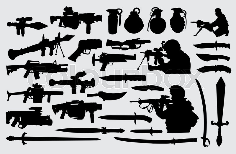 Weapon, gun, knife, sword and soldier       Stock vector