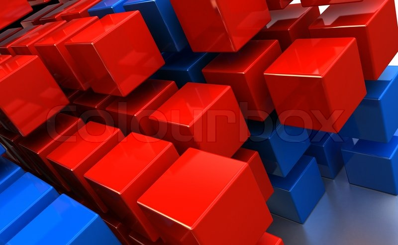 3d Cube In Black And Blue Abstract Qhd Wallpaper: Abstract 3d Illustration Of Cubes Background, Red And Blue