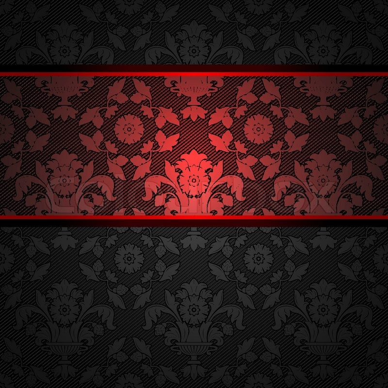 Set Ornament Template Fabric Texture Red Ribbons Vector