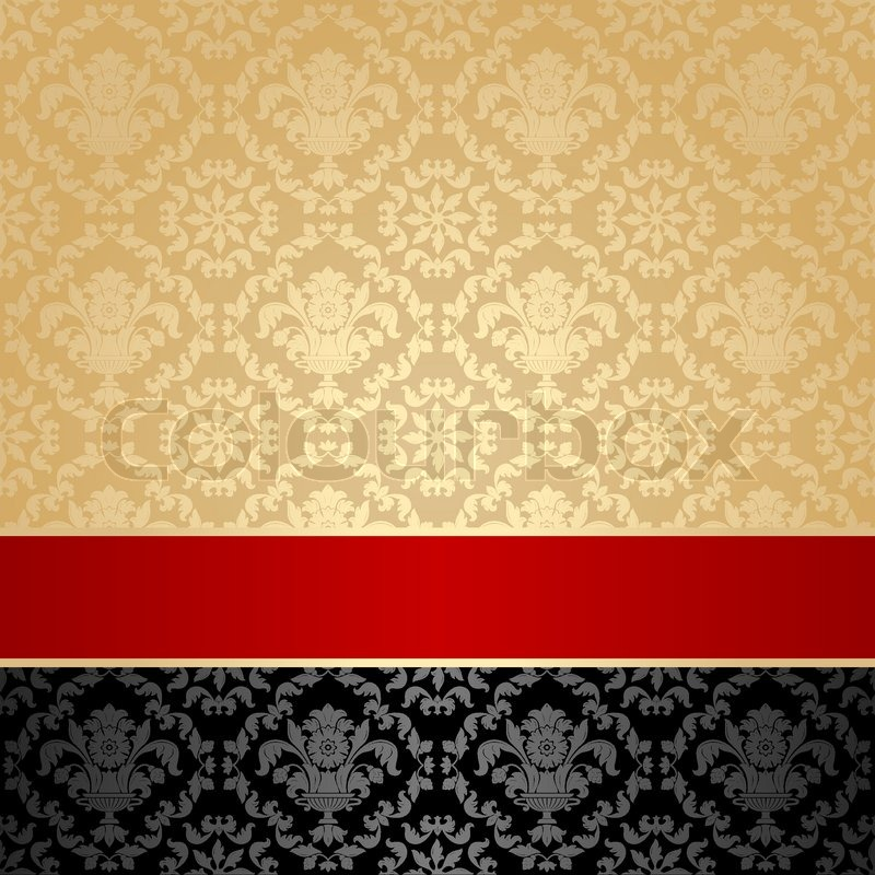Seamless Pattern Floral Decorative Background Red Ribbon