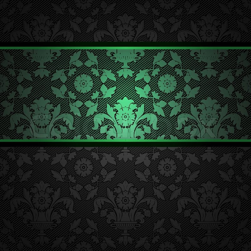 Set Ornament Template Fabric Texture Green Ribbons