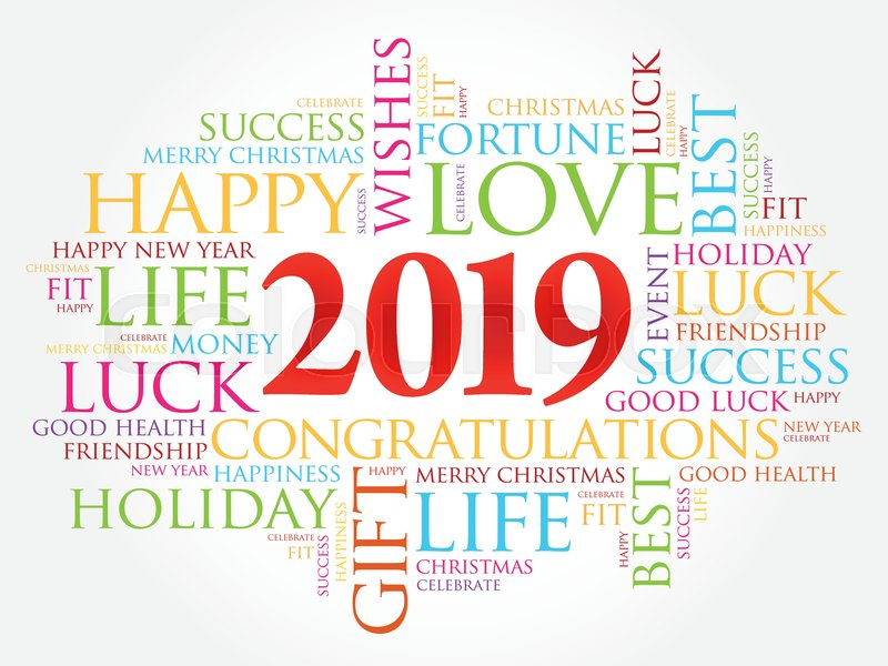 2019 year greeting word cloud collage happy new year celebration greeting card vector