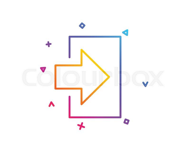 Login arrow line icon  Sign in symbol      | Stock vector