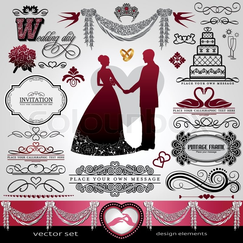 Wedding Day Background Ornaments Set Calligraphy Abstract Elements Vector Invitation Card