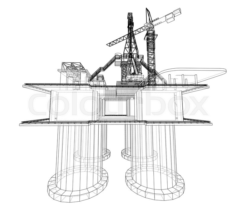 Offshore oil rig drilling platform     | Stock vector | Colourbox