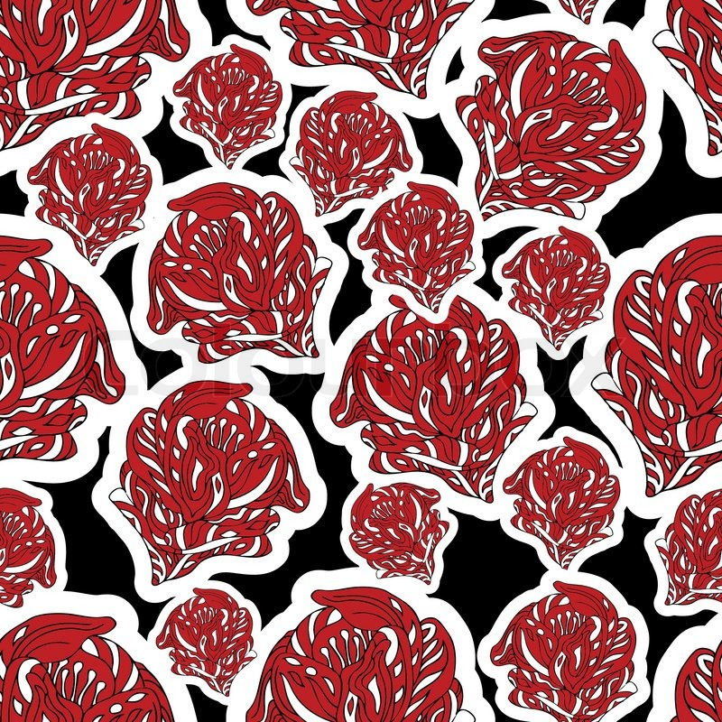 Abstract Background With Red Flowers Creative Vector Wallpaper Fashion Seamless Pattern Fabric And Retro Wrapping Graphic Flower Ornament