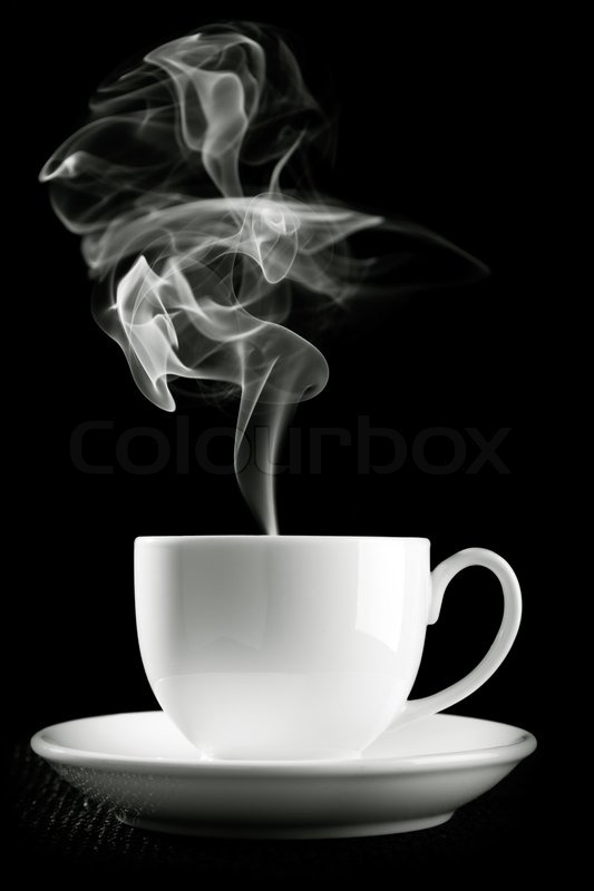 Coffee Cup Over The Table Against Black Background Stock