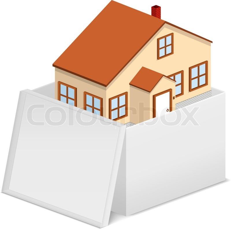 haus im karton vektorgrafik colourbox. Black Bedroom Furniture Sets. Home Design Ideas