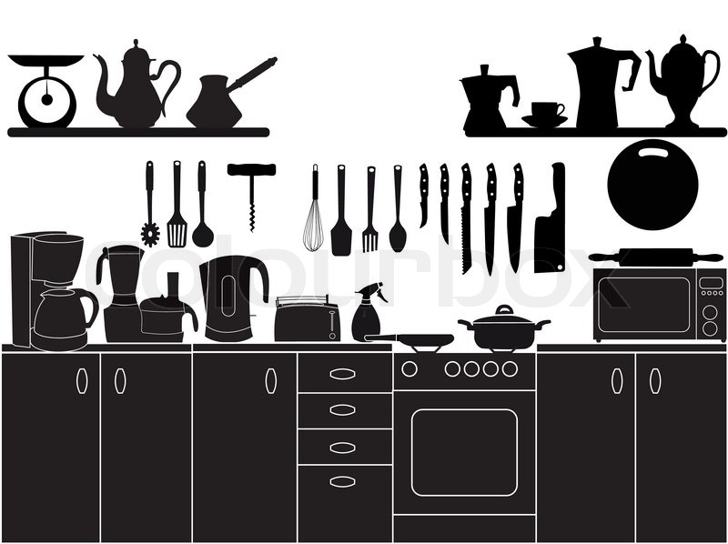 Vector illustration of kitchen tools for cooking : Stock Vector ...