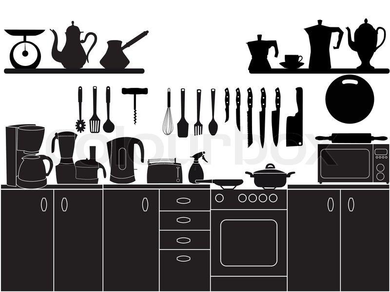 vektor illustration von k chenutensilien zum kochen vektorgrafik colourbox. Black Bedroom Furniture Sets. Home Design Ideas