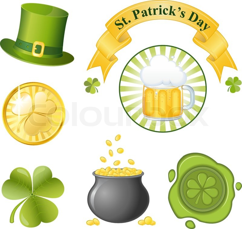 St patrick 39 s day icon set stock vector colourbox for Irish mail cart plans