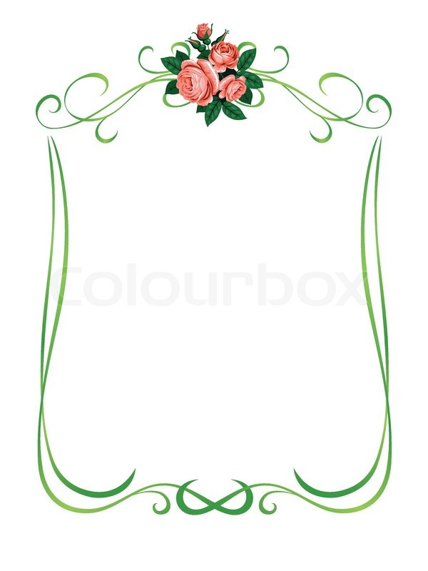 Vector roses frame pattern background decoration isolated | Stock ...