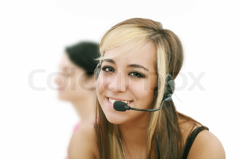 Beautiful Representative Smiling Call Stock Image