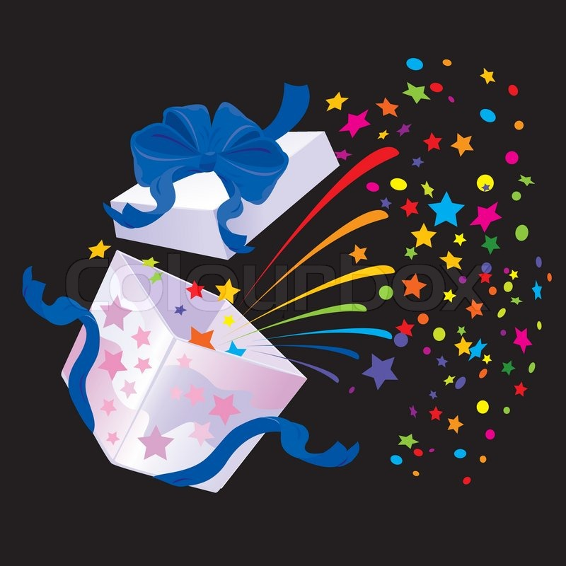 open gift box with rainbow colors confetti booming on