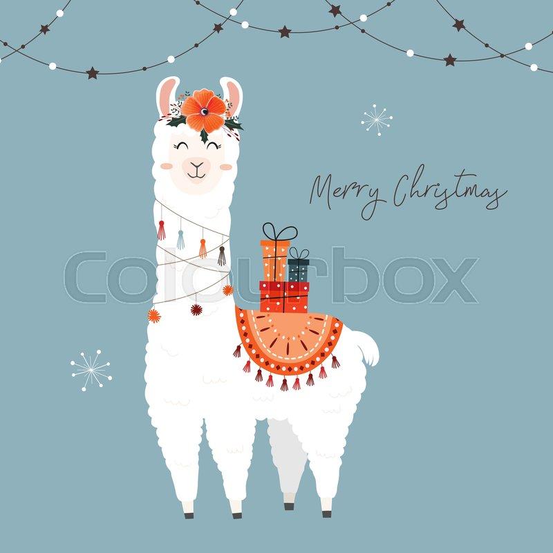 Christmas Llama.Cute Christmas Llama Stock Vector Colourbox