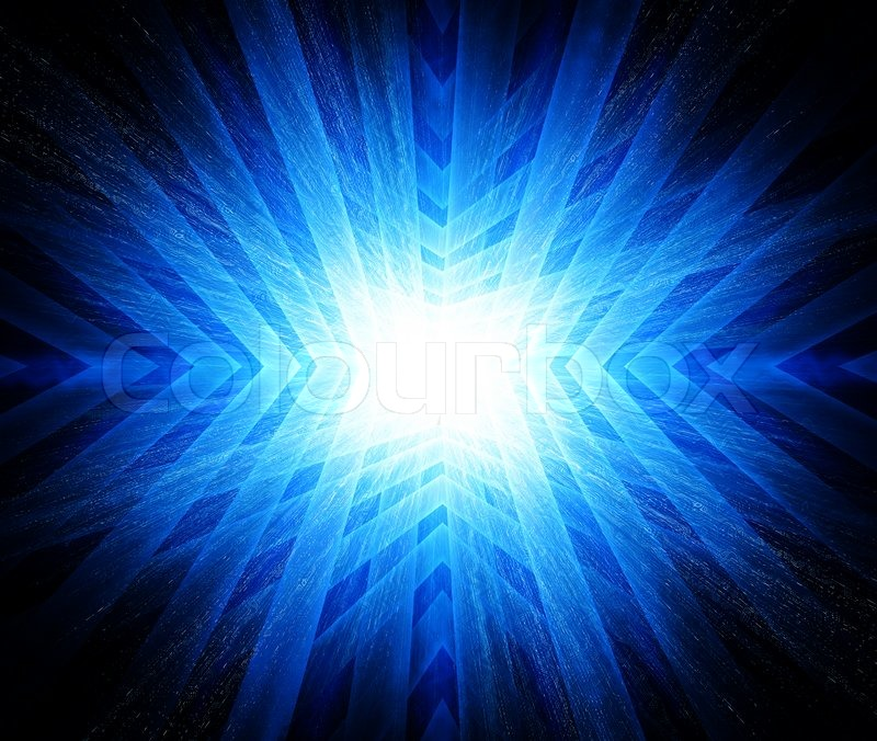 Flash Of Lightning On A Blue Background Stock Photo