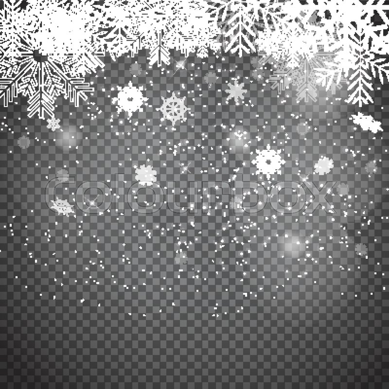 falling shining snowflakes and snow on transparent background christmas winter and new year background realistic vector illustration for your design