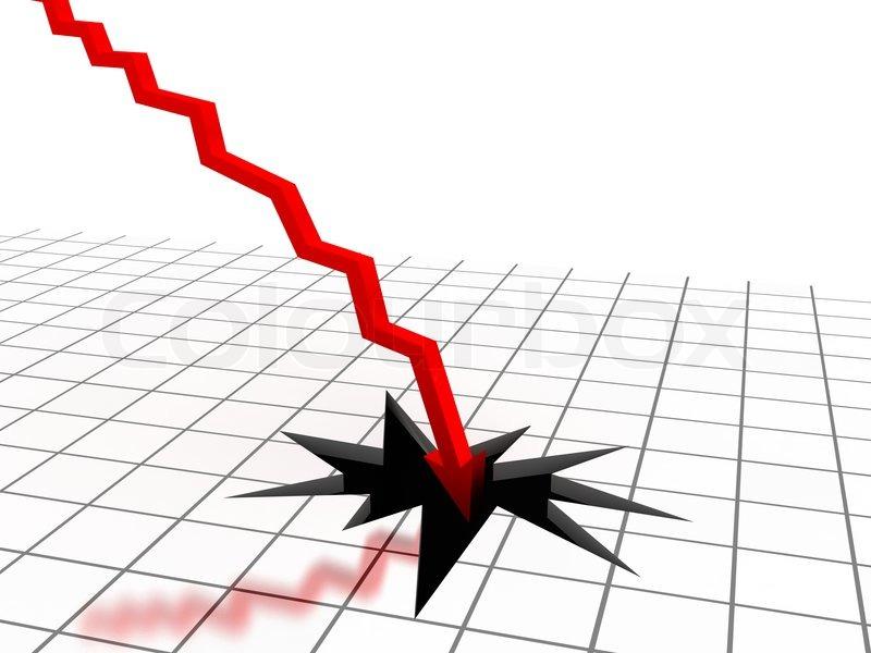 Red Arrow Breaking Floor Concept Of Bankruptcy Financial