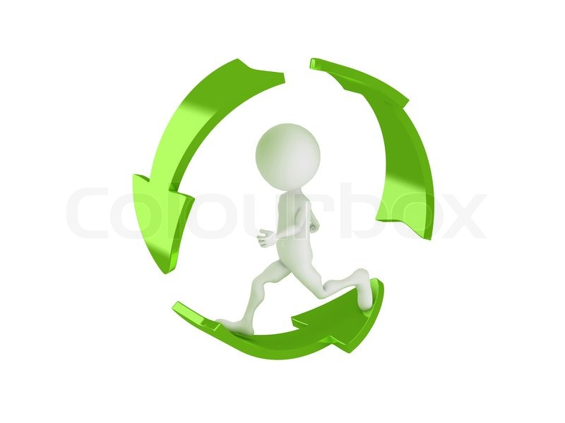 3d Man Running Inside The Recycle Symbol Stock Photo Colourbox