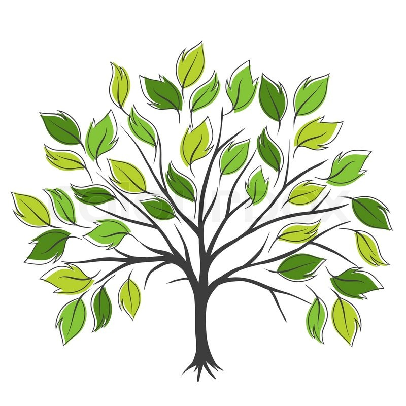 Symbolic tree with single leaves vector illustration ...