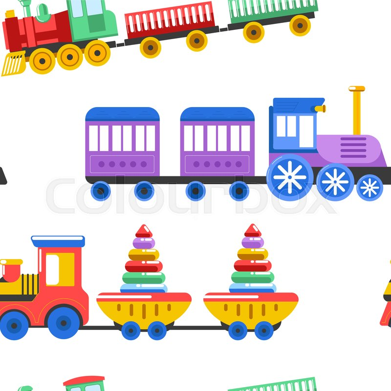 Toy Trains With Kid Toys And Children Stock Vector Colourbox