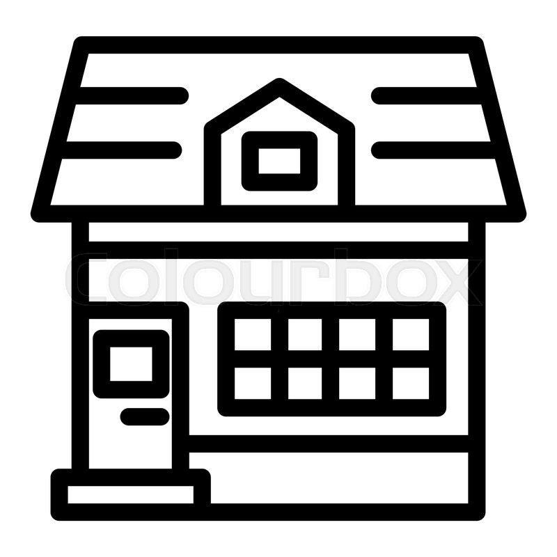 House with mansard window line icon      | Stock vector | Colourbox