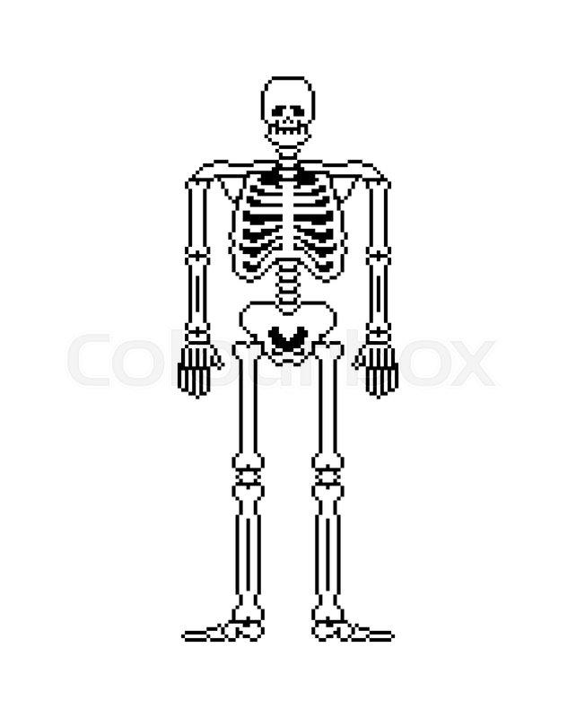 Skeleton pixel art  Skull and Bones     | Stock vector | Colourbox