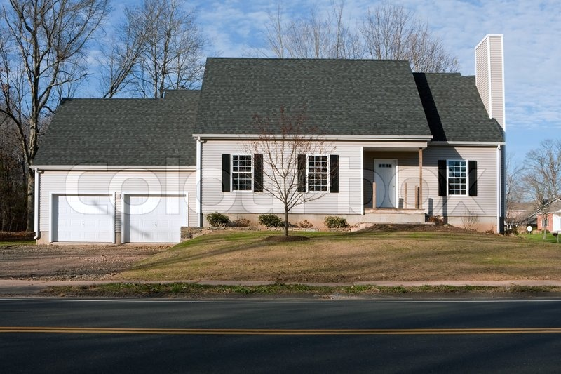 Newly Constructed House With Two Car Garage Stock Photo