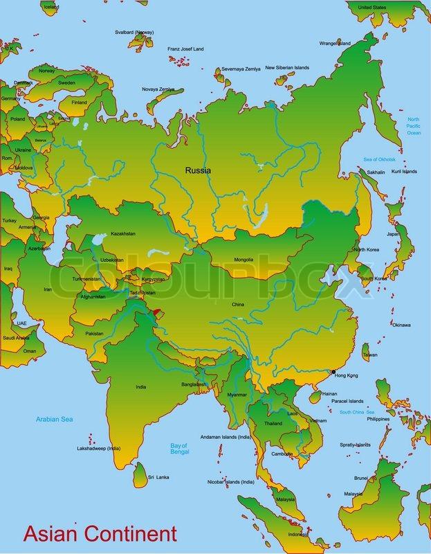 kort over asiens lande