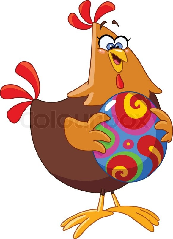 Cartoon chicken holding an easter egg | Stock Vector ...