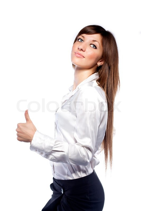 Portrait of lovely smiley woman in white shirt | Stock Photo ...