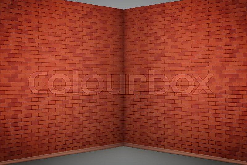 Interior Of Red Brick Wall Corner Of Stock Vector Colourbox