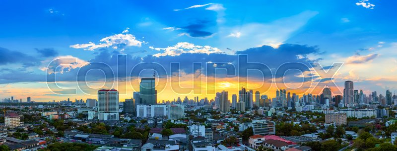 City scape of Bangkok city at sunset with beautiful sky and cloud. Business district center. Asia travel location. Picture for add text message. Backdrop for design ..., stock photo