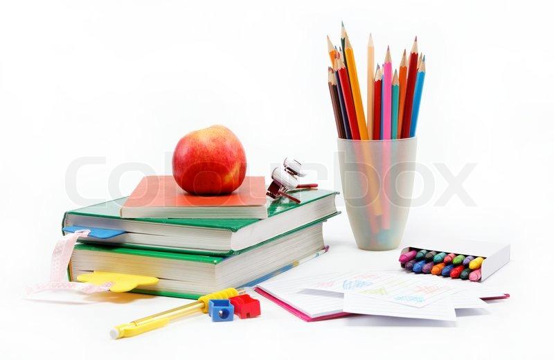 School Supplies: Books, Notebook, Pens, Pencils, Glasses