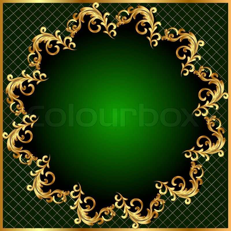 Illustration Background Pattern Gold On Green