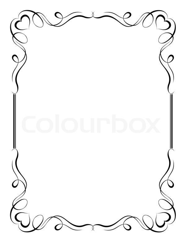 Kalligraphie ornamentalen dekorativen Rahmen mit Herz | Vektorgrafik ...