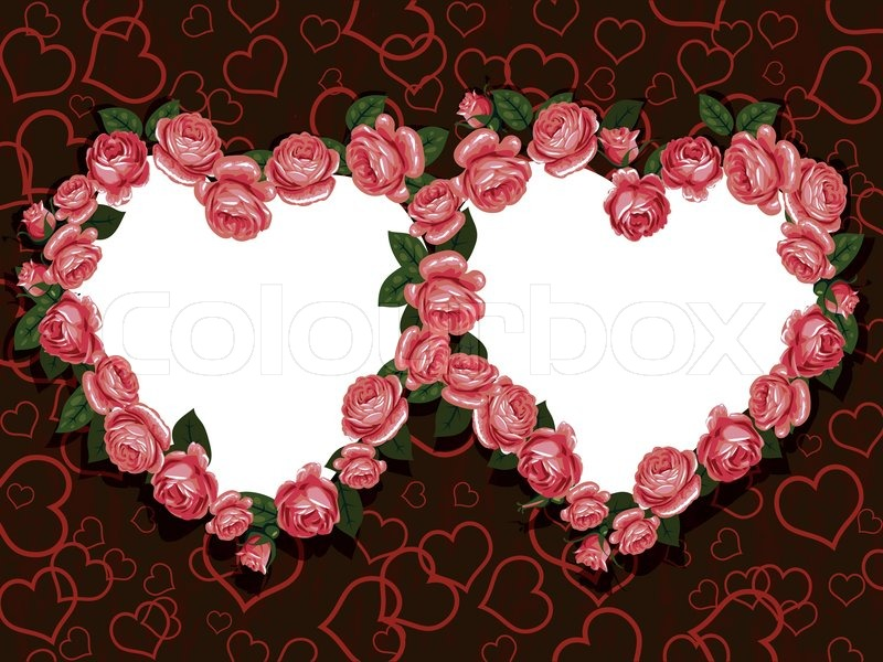Rose Flowers Two Hearts Frame Pattern Vector Colourbox