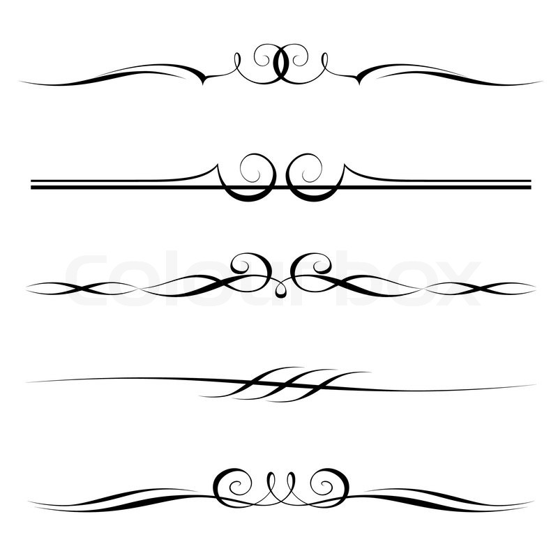 Simple One Line Text Art : Decorative elements border and page rules stock vector