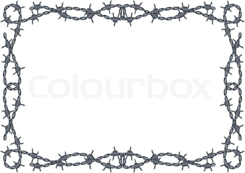 Barbed wire frame vector | Stock Vector | Colourbox