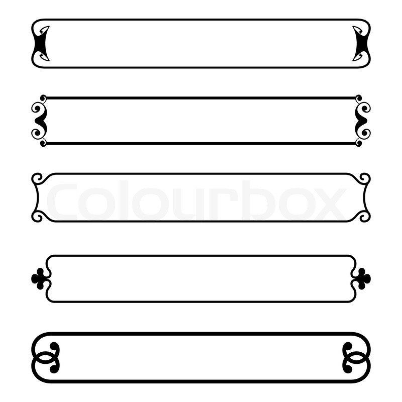 Set of simple black banners border frame | Stock Vector | Colourbox