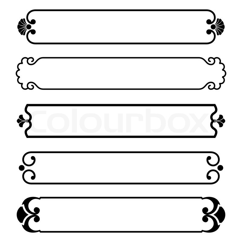 Set of simple black banners border frame | Vector | Colourbox Vintage Border Vector