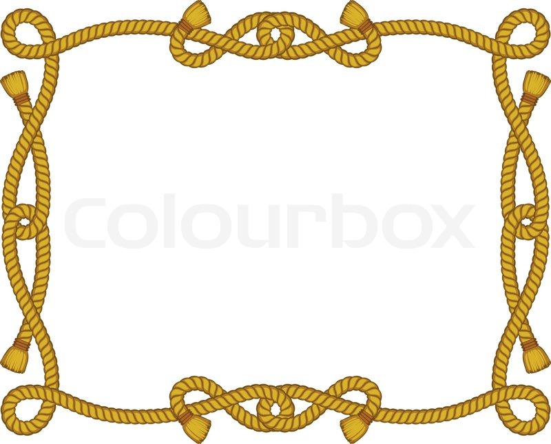 Rope frame isolated on white stock vector colourbox Rope photo frame