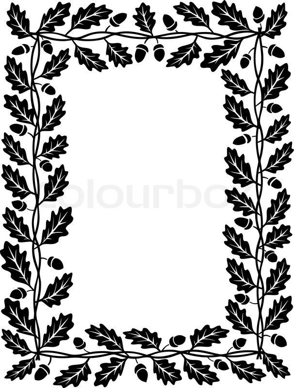 Oak leaf frame black silhouette | Stock Vector | Colourbox