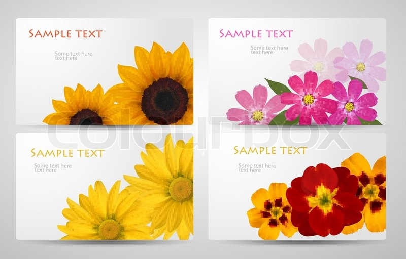Set of banners with different colorful flower Vector illustration, vector