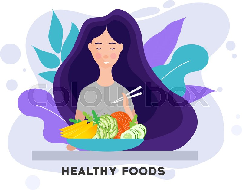 Pretty Girl With Healthy Food Eating Stock Vector Colourbox