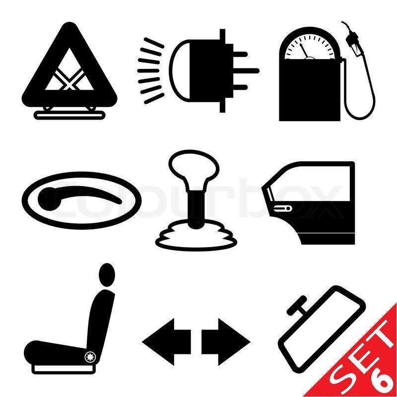 car part icon set 6 vector colourbox. Black Bedroom Furniture Sets. Home Design Ideas