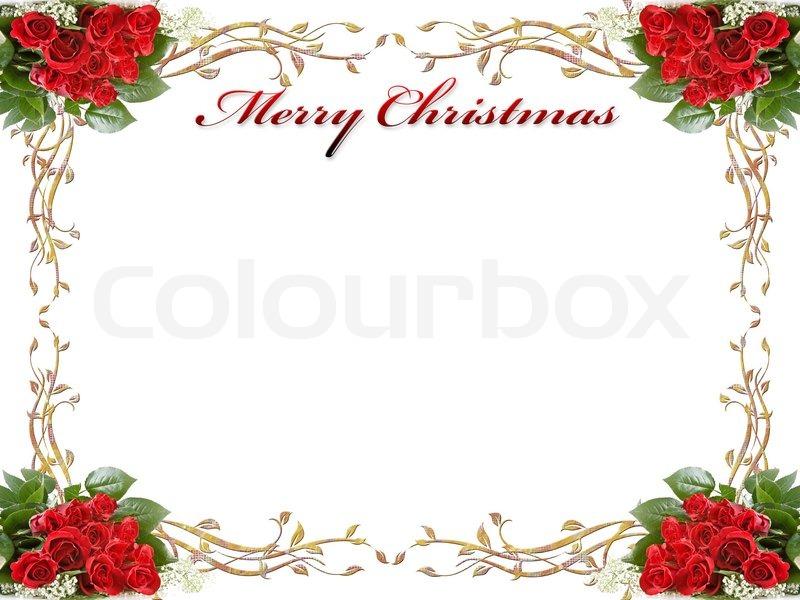 Weihnachten Hintergrund mit Rosen und Blätter | Stockfoto | Colourbox