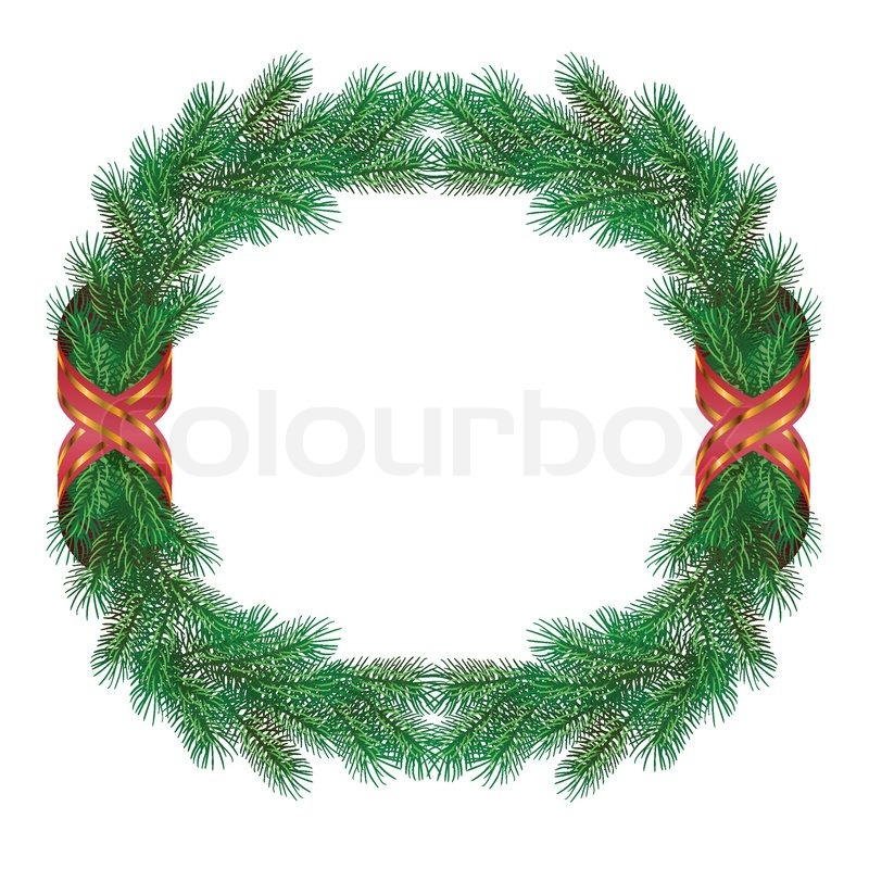 Weihnachten Tannenzweig Kranz Rahmen | Vektorgrafik | Colourbox